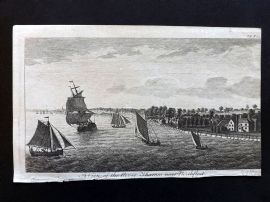 UK 1777 Antique Print. View of the River Thames near Northfleet. Ships